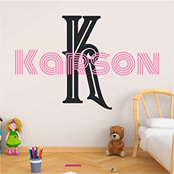 Vinyl Decor Personalized Name Wall Decal Initial And Letter Styles Girls Custom Name And Initial Wall Decal Vinyl Wall Stickers For Kids Choose Your Own Name Wall Sticker Decor Multiple Sizes