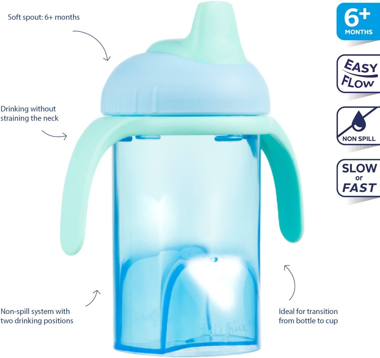 Difrax Verre /à poign/ées avec bec souple antifuite Bleu 250/ml
