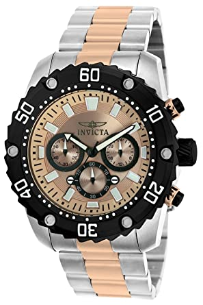 Invicta Men's 'Pro Diver' Quartz Stainless Steel Casual Watch, Color:Two  Tone