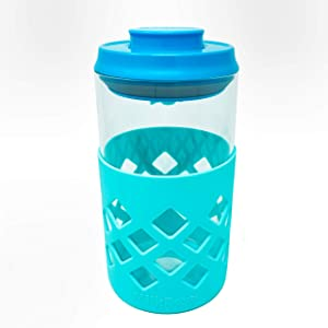 MILKBOX PLUS Glass Airtight Push Button Pop Top Food Storage Container - BPA Free - 1.4 Qt for Sugar, Baby Formula, Coffee, Flour, Rice, Nuts & More