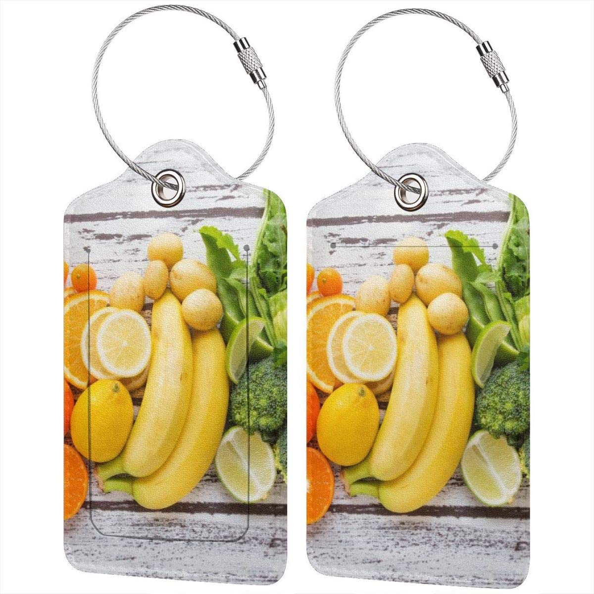 Kitchen Fresh Fruits Vegetables On Wooden Table Luggage Tag Label Travel Bag Label With Privacy Cover Luggage Tag Leather Personalized Suitcase Tag Travel Accessories