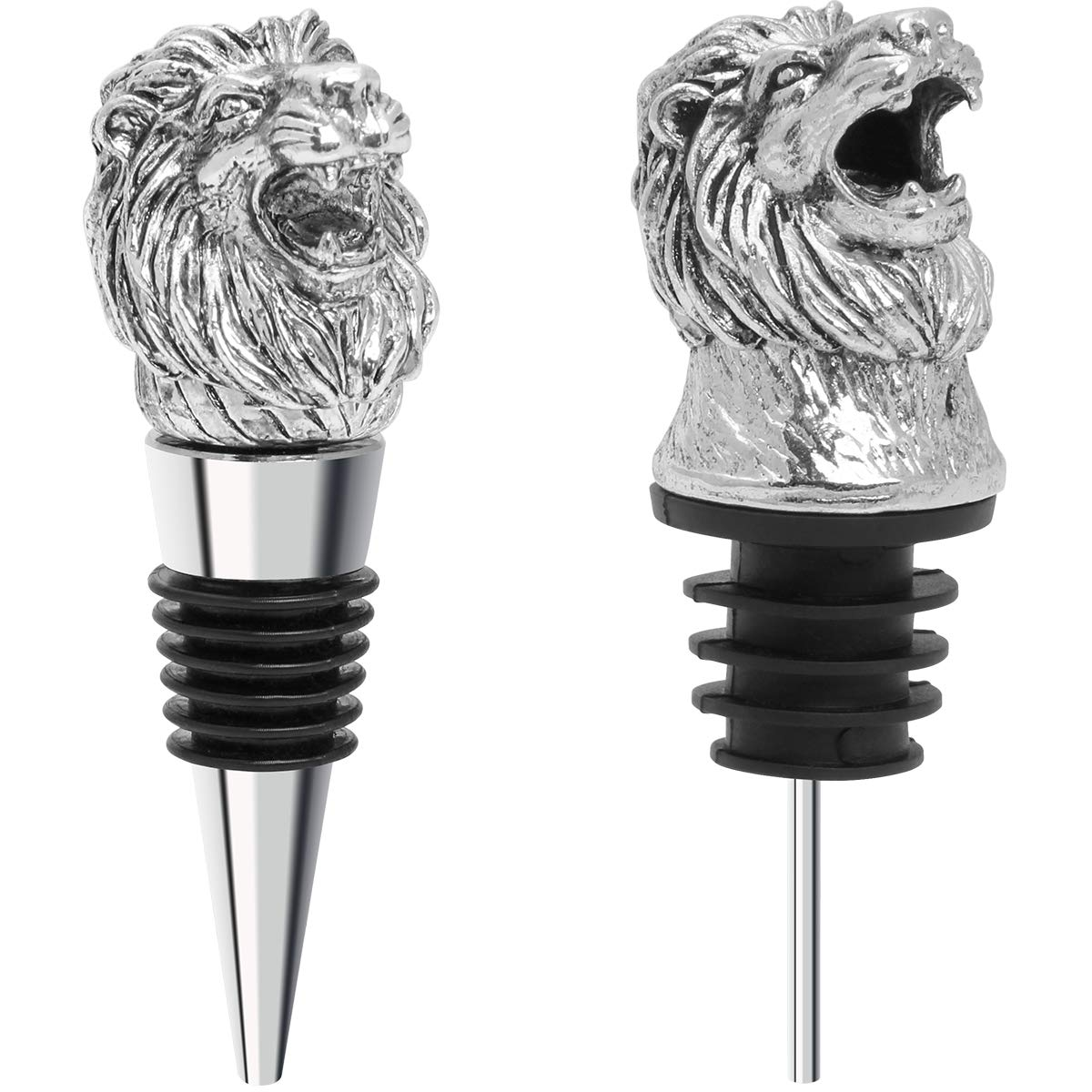 Coitak Lion Head Wine Pourer Spout, Wine Bottle Stopper for Home and bar, Animal Wine Pourer and Stopper With Silicone Rubber Fitting