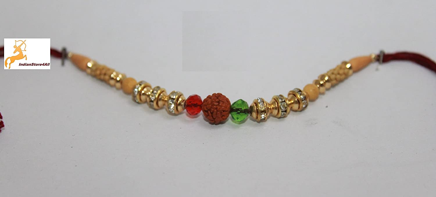 indianstore4all Rudraksha rojo verde Moti Golden Color Rakhi con ...