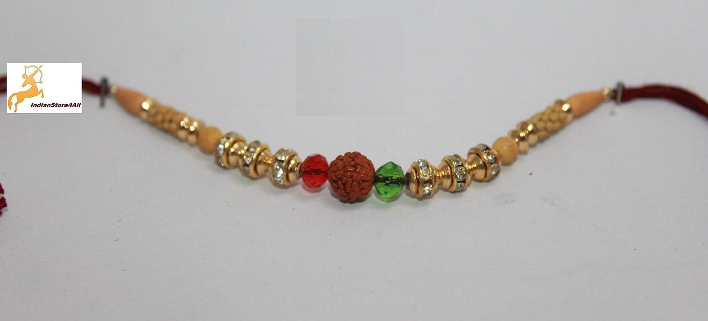 indianstore4all Rudraksha rojo verde Moti Golden Color Rakhi con ...
