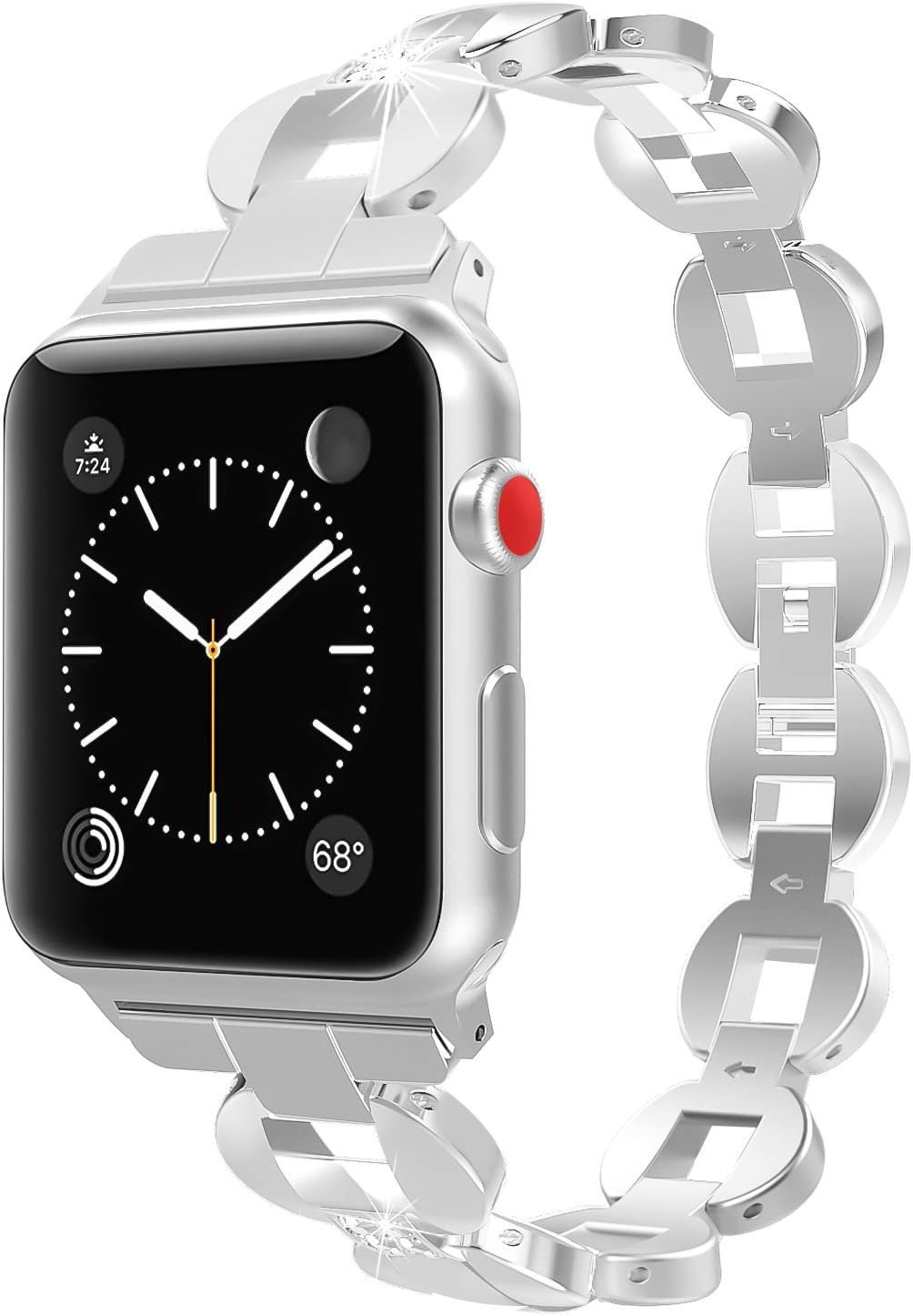 MoKo Band Compatible with Apple Watch 42mm 44mm Series 5/4/3/2/1, Premium Crystal Diamond Alloy Replacement Smart Watch Strap with Stainless Steel Clasp - Sliver (Not Fit iWatch 38mm 40mm)