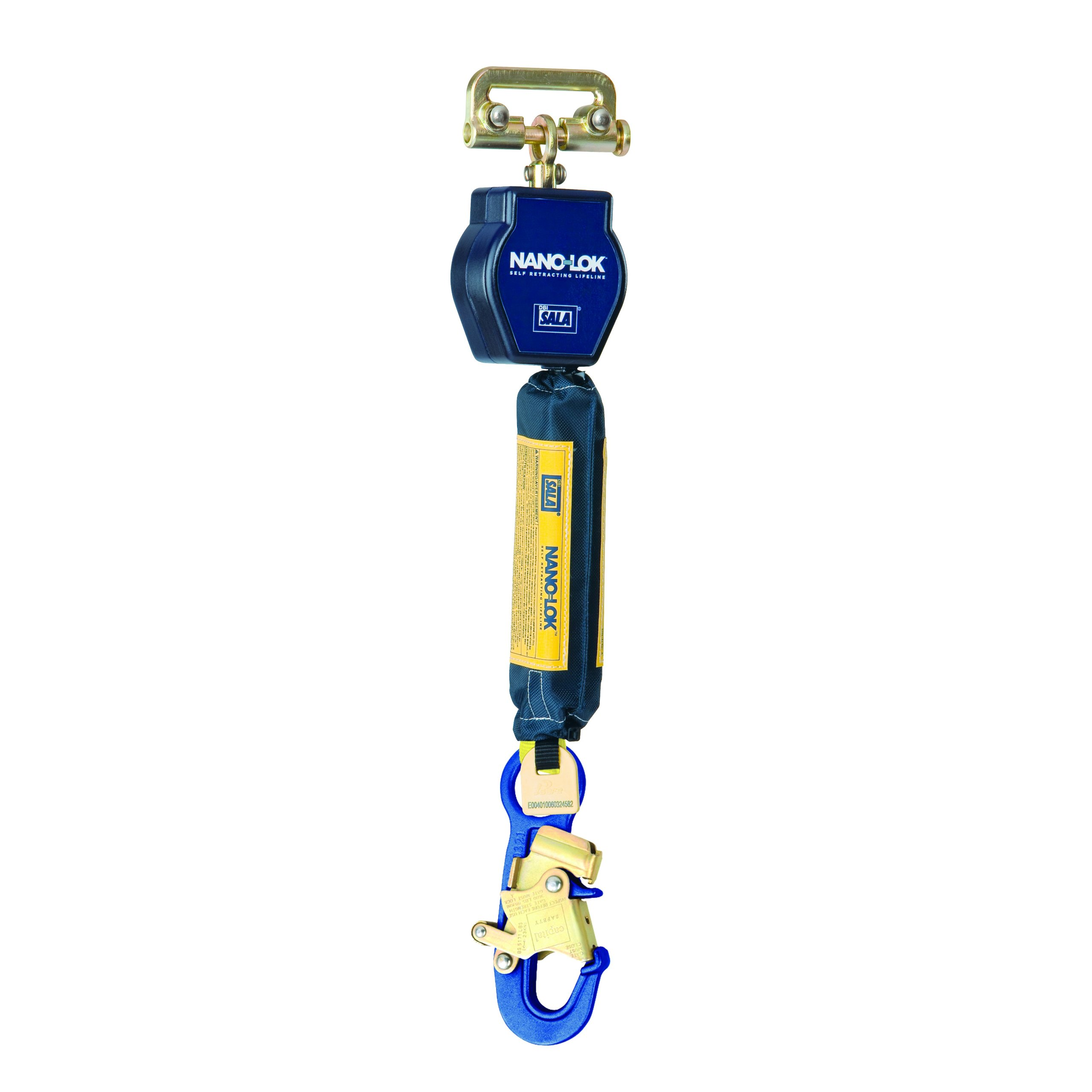 3M DBI-SALA Nano-Lok 3101226 Self Retracting Lifeline, 6', 3/4'' Dynema Polyester Web,and Aluminum Snap Hook, Quick Connector For Harness Mounting, Blue
