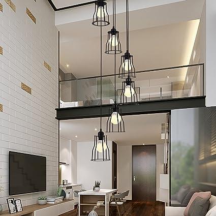 6 luces araña retro LED E27, 30*150cm, escalera lámpara industrial colgante de luz negro, Duplex lámpara escalera de caracol piso para sala de estar, ...