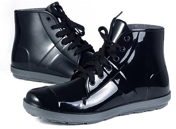 AgeeMi Shoes Erwachsene Rund Zehe Flache Schnürung Regenstiefel Gummistiefel,EuY03 Schwarz 42
