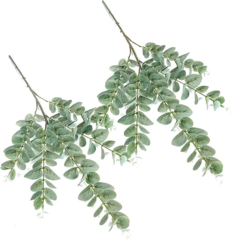 iFLOVE 2 Pcs Artificial Eucalyptus Leaves Spray in Plastic Floral Greenery Stems for Home Party Wedding Decoration(Grey Green)
