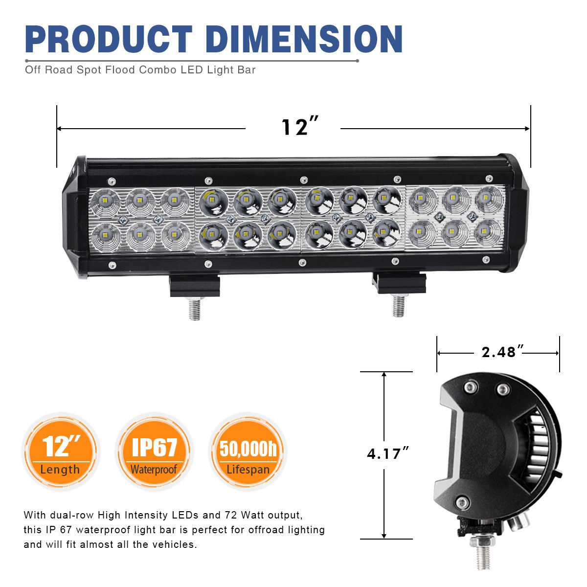 Yitamotor Led Light Bar 72w 12inch Spot Flood Combo Do I Need A Wiring Harness For My Free Download Off Road Lights Driving Fog Jeep Boat Lighting