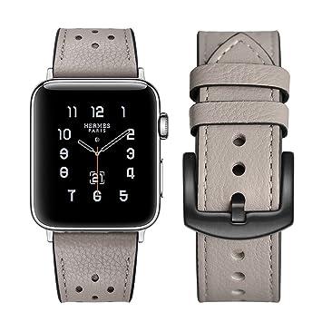 quality design ef05d 25758 Apple watch band Hermes アップルの時計バンドの38 mmの42  mmのエルメス本物の革のバンドを見て交替アップル3ならびに1ナイキエルメス・エディションのための古典的な金属の留め金によるシングルアダプタツアー  (38mm, Gray)