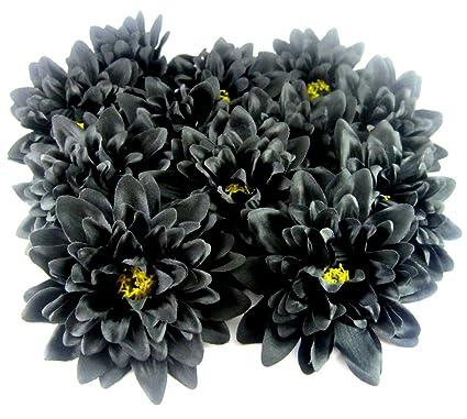 Amazon 12 black silk dahlia flower heads 4 artificial 12 black silk dahlia flower heads 4quot artificial flowers dahlias head mightylinksfo