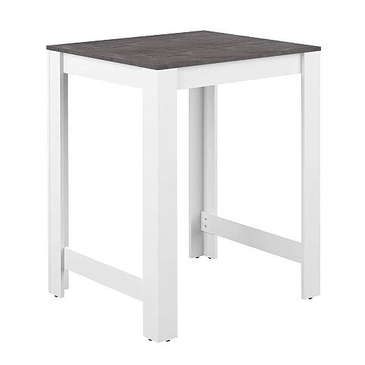 AmazonBasics - Mesa alta, 80 x 70 x 102 cm (largo x ancho x alto), blanco y efecto hormigón