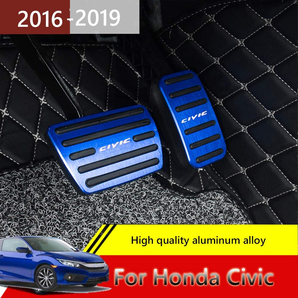 for Honda 10th Civic blue 2016-2019 Great-luck High quality aluminium alloy Pedal Covers,Accelerator Pedals Brake Foot Pedal Pads with Rubber Pull Tabs 2 pieces