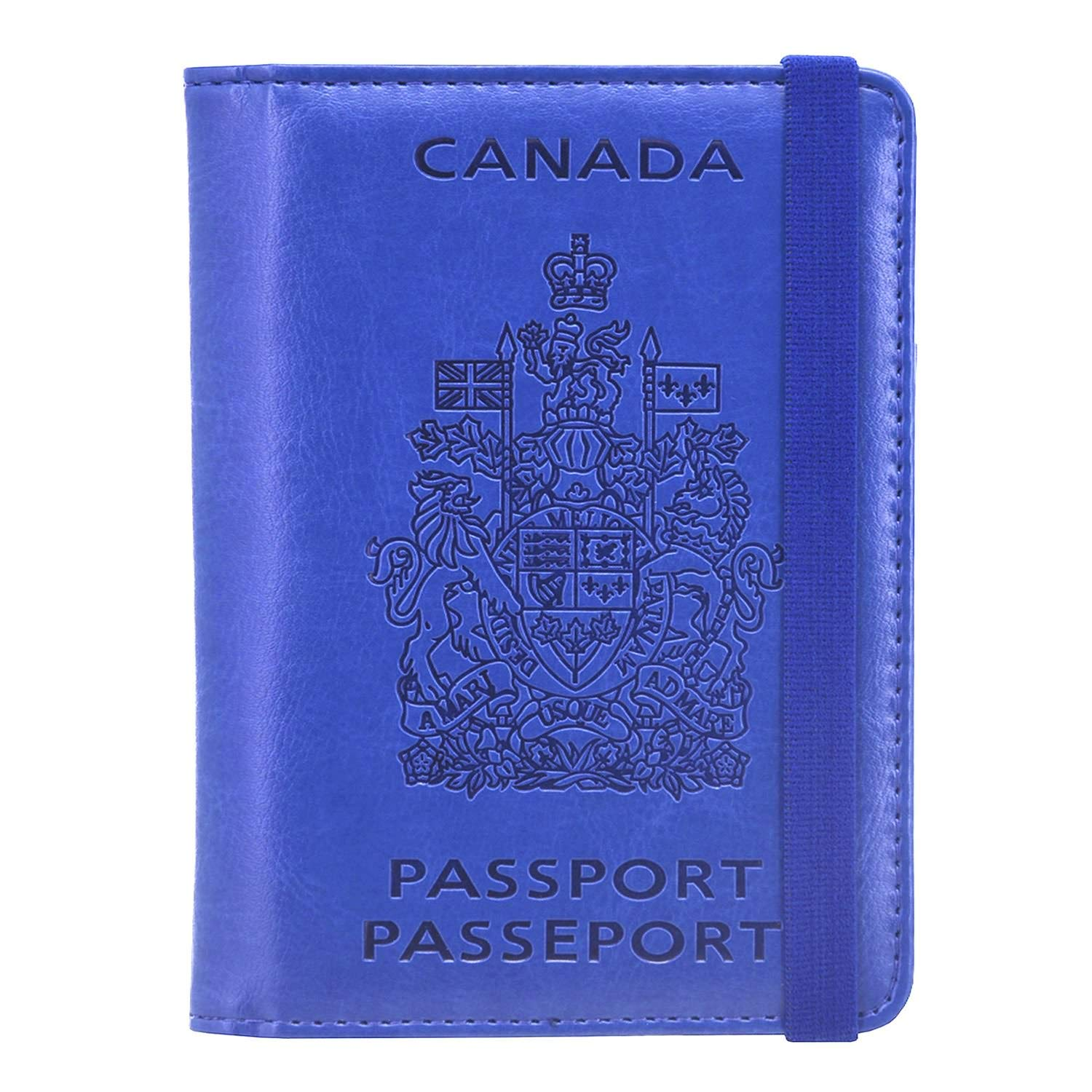 Passport Holder Travel Cover Case - HOTCOOL Leather RFID Blocking Wallet for Passport, Blue/(Magnetic/)