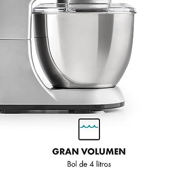 Klarstein Bella Pico Mini • Robot de cocina • Batidor • Amasador • 550 W Nominal • 800 W Pico Máx • 6 niveles • 4 Litros • Brazo multifunción • Sistema ...