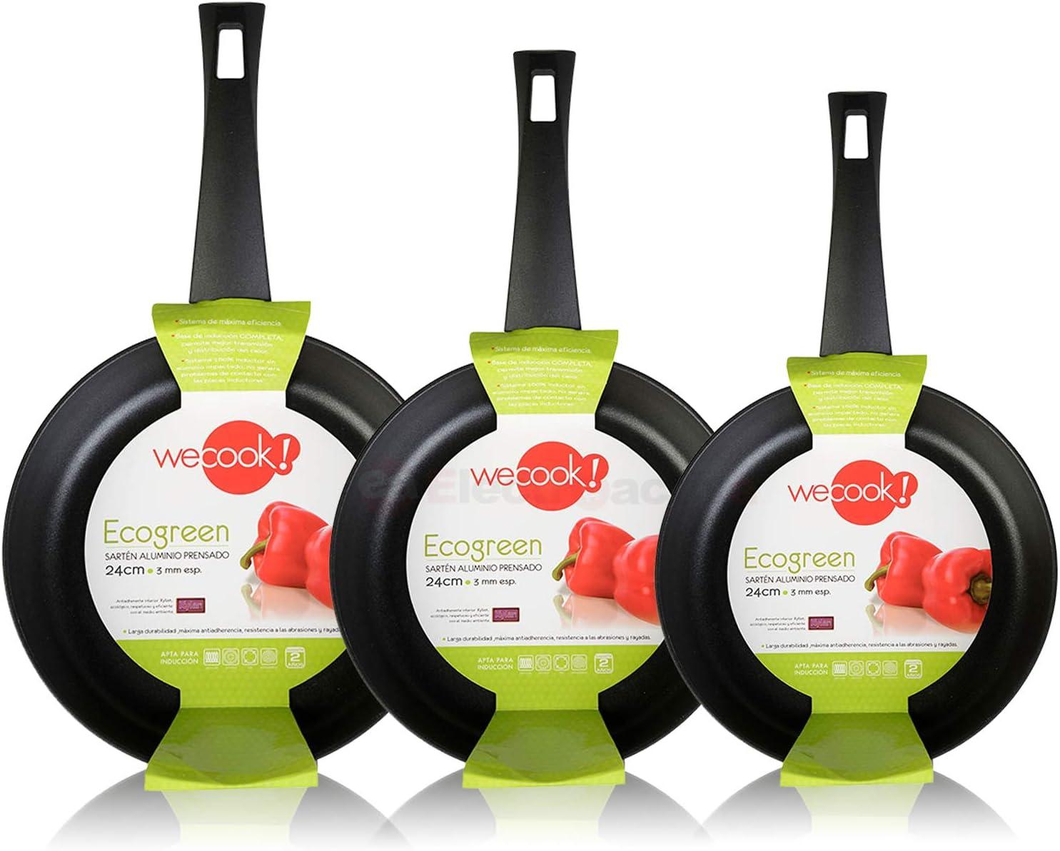 WECOOK Ecogreen Set Juego 3 Sartenes 18-20-24 cm Aluminio, inducción, Antiadherente ecológico sin PFOA, Limpieza lavavajillas Apta para Todas Las cocinas, vitroceramica, Gas