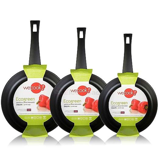 WECOOK Ecogreen Set Juego 3 Sartenes 20-24-28 cm Aluminio, inducción, Antiadherente ecológico sin PFOA, Limpieza lavavajillas Apta para Todas Las ...