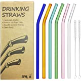 Reusable Bent Glass Drinking Straws, Set of 6 With 2 Cleaning Brushes,Shatter Resistant,BPA Free, Non-Toxic, Eco-Friendly, 200mm x 10mm (Bent 8'' x10mm, Multi Color)