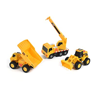 Sunny Days Entertainment Mini Construction Vehicles 3 Pack – Lights and Sounds Pull Back Toy Vehicle with Friction Motor | Includes Dump Truck Front End Loader and Crane Truck – Maxx Action: Toys & Games
