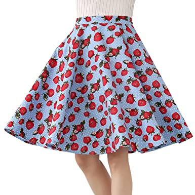 4e817ed3c2be 100% Cotton Polka Dot Floral 50s Vintage Retro Swing Full Circle Skirt  (Small,