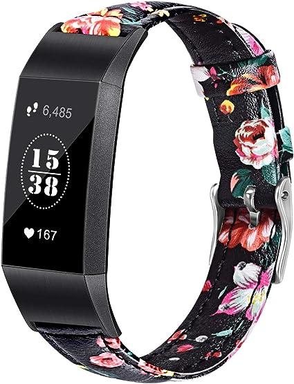 Pour Fitbit Charge 3 Bracelet de montre en cuir de remplacement