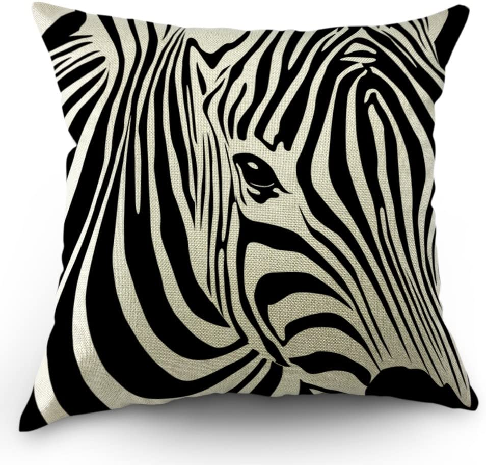 Amazon Com Moslion Zebra Pillow Cases Home Decorative Animal Stripe Zebra Throw Pillow Throw Pillow Covers 18 X 18 Inch Cotton Linen Cushion Cover For Men Women Black White Home Kitchen