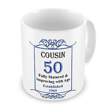 50 Geburtstag Cousin Gegrundet 1965 Jahres Tasse Blau Amazon De