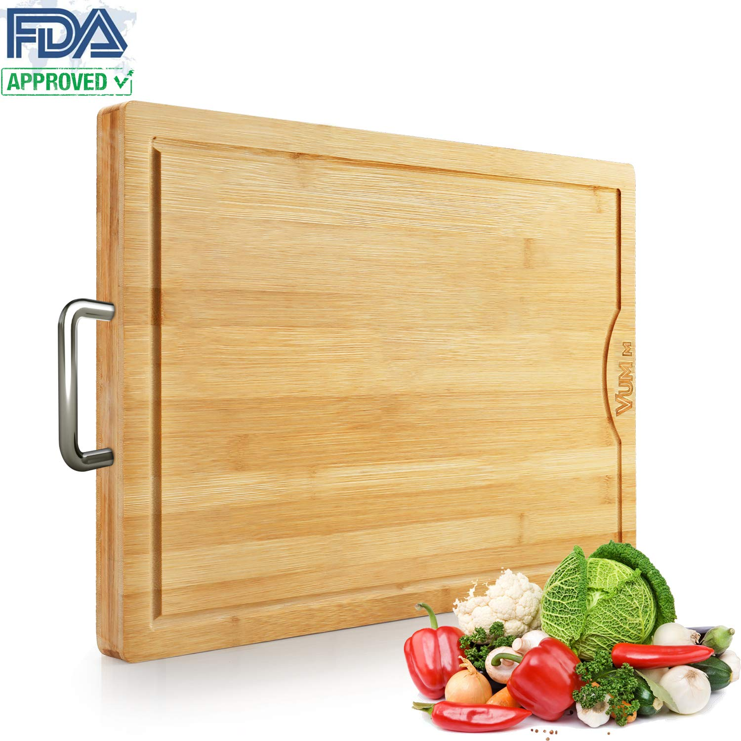"Large Bamboo Cutting Boards For Kitchen with Juice Groove-VUMM Organic Heavy Duty Chopping Board for Meat/Vegetables Fruits Serving Tray, Butcher Block, Carving Board, BPA Free【21'' x13"" x1.2'' 】"