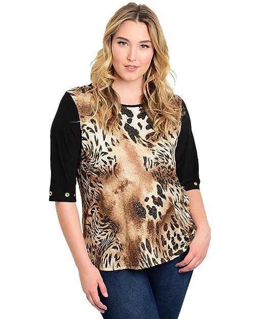 e699f2bfdfe0d0 Alight Plus Size Brown Tiger Print Top -Size: 1X Color Brown: Amazon ...