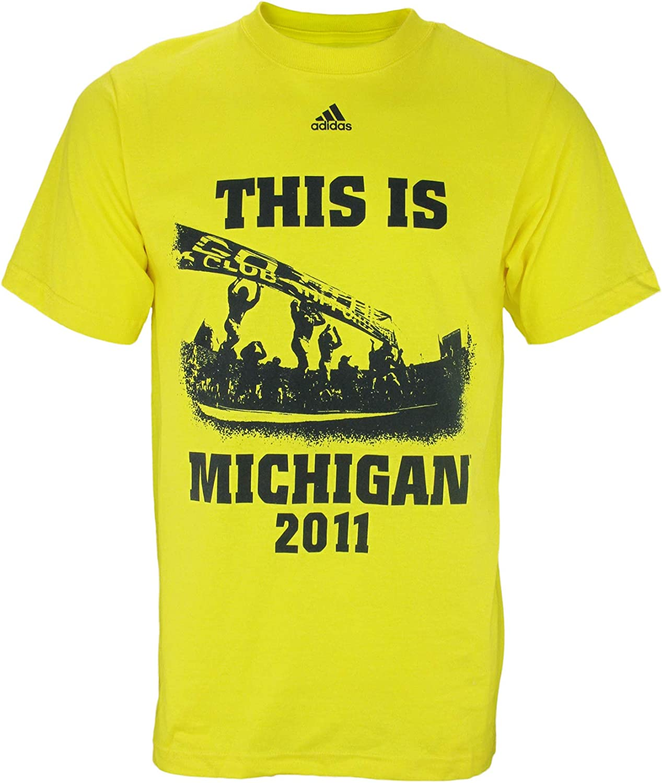 University of Michigan Wolverines NCAA Men's Short Sleeve 2011 Football Home Schedule T-Shirt, Bright Sun Yellow