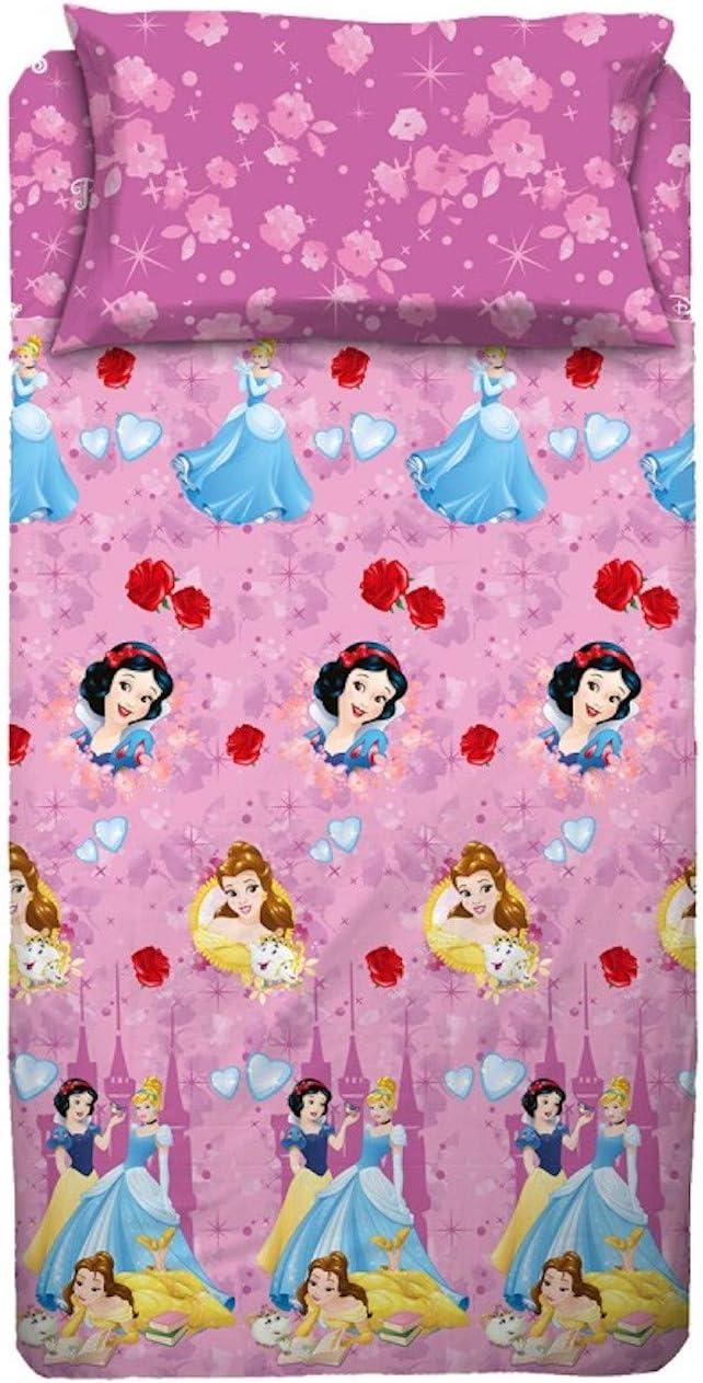 Disney - Juego de sábanas para Cama de una Plaza, diseño de Princesas, Color Rosa