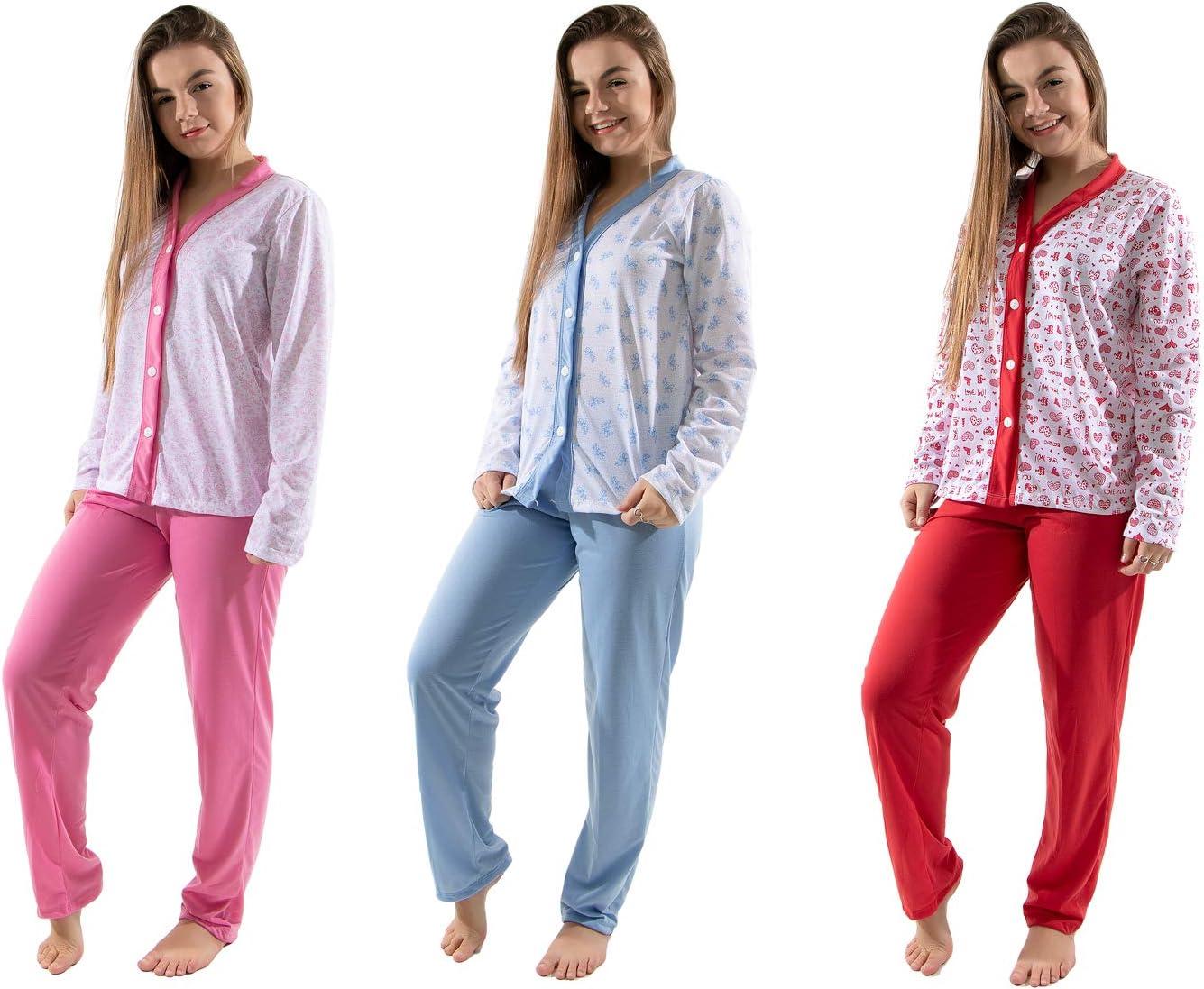 Kit 3 Pijama Amamentação Com Botão Manga Comprida Inverno Feminino Estampado (G) | Amazon.com.br