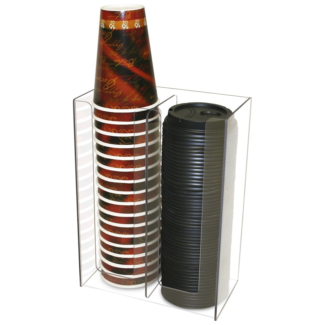 OKSLO Coffee or solo cup and lid holder dispenser and organizer, clear lexan counterto