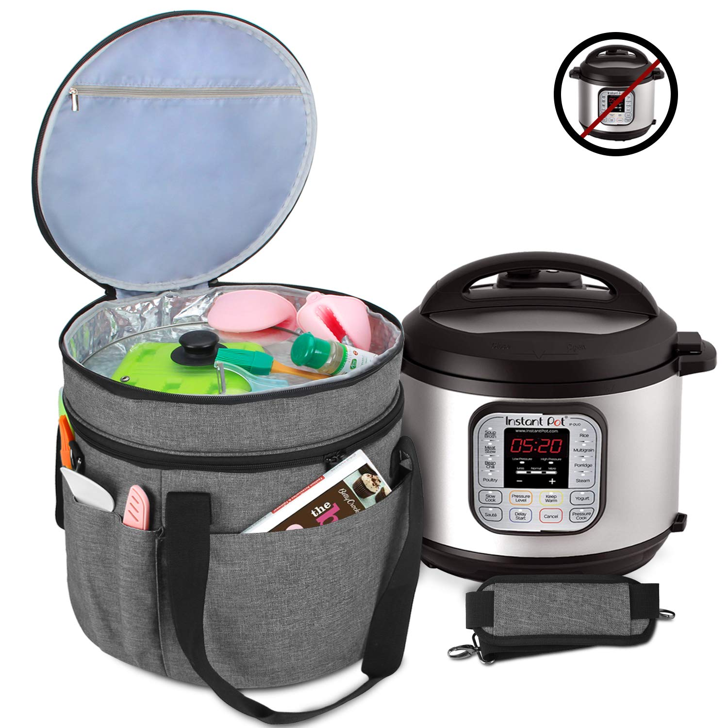 Luxja Carrying Bag Compatible with Instant Pot (8 Quart), Travel Tote Bag for 8 Quart Pressure Cooker and Extra Accessories, Gray