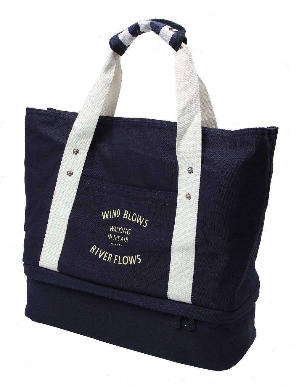 iSuperb Travel Bag Canvas Large-Size Handbag Carry-On Shoulder Tote Duffel Bag (Dark Blue)