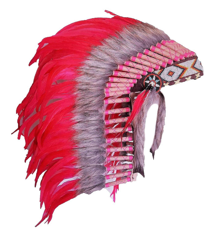 N28 - De 4-6 años Niño / Niño: Long Pink pluma Headdress 21 pulgadas. 53,34 cm.