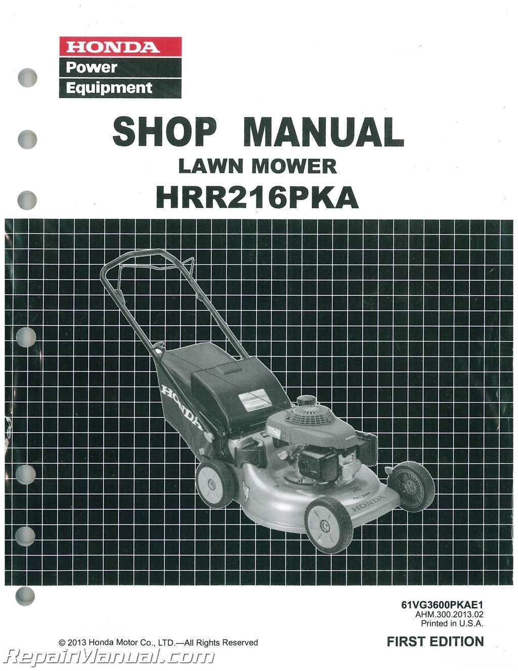 Amazon.com: Honda HRR216 PKA Lawn Mower Service Repair Shop Manual:  Manufacturer: Books