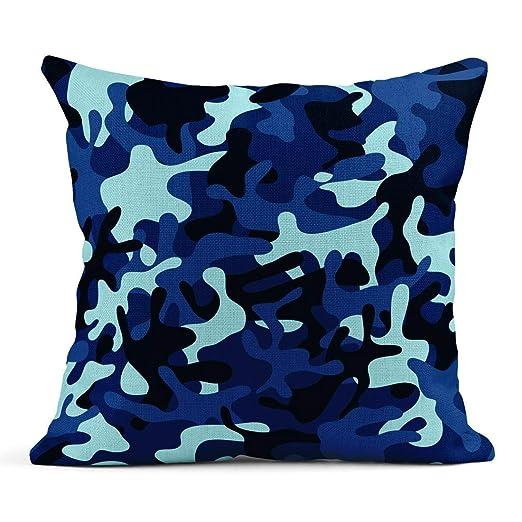 Kinhevao Cojín Azul Marino Camuflaje Abstracto Color Patrón ...
