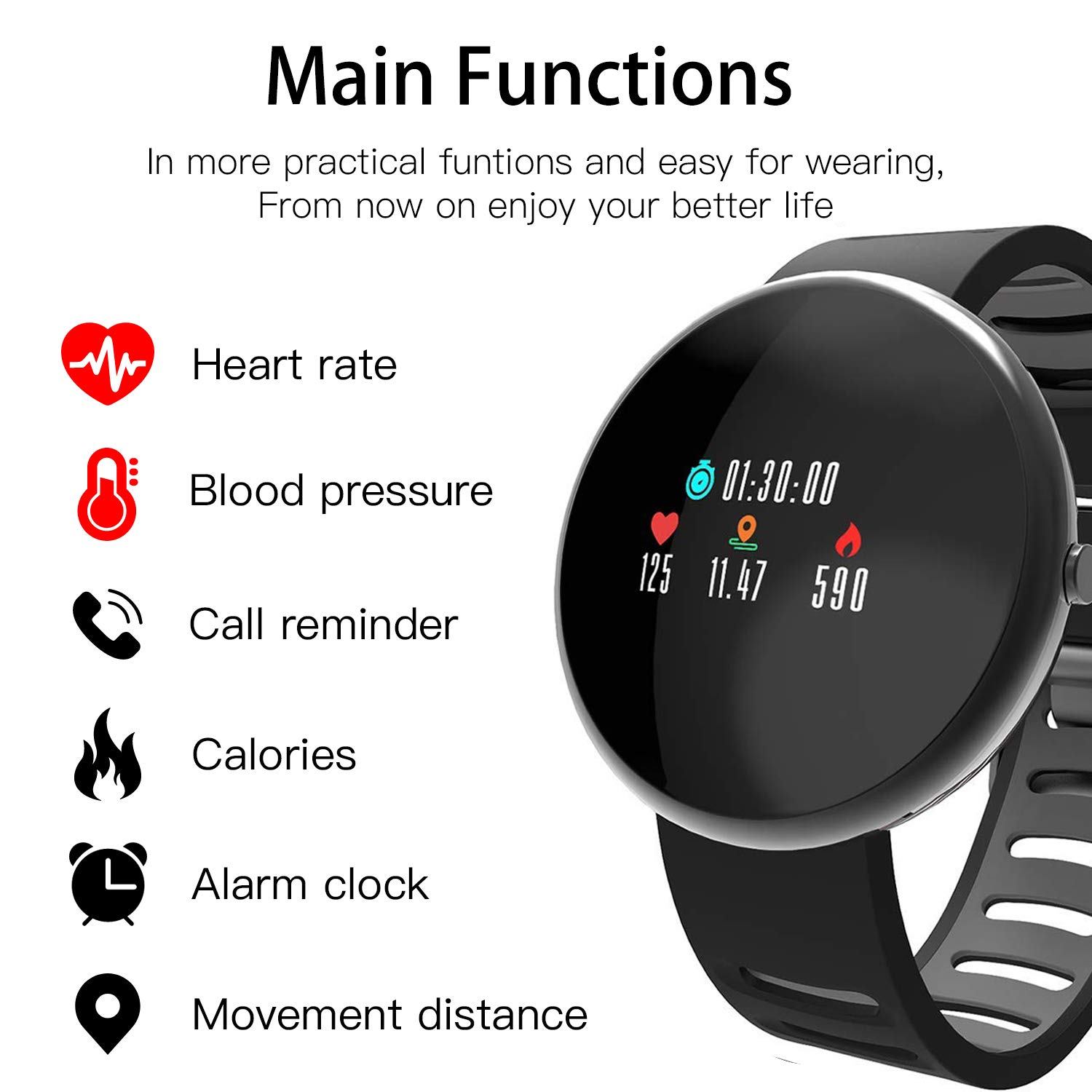 LATITOP Smart Fitness Tracker Watch with Heart Rate Monitor and Blood Pressure Monitor, 2.5D Color Screen IP67 Waterproof Activity Tracker with Pedometer, Calorie Counter, Sleep Monitor (Black)