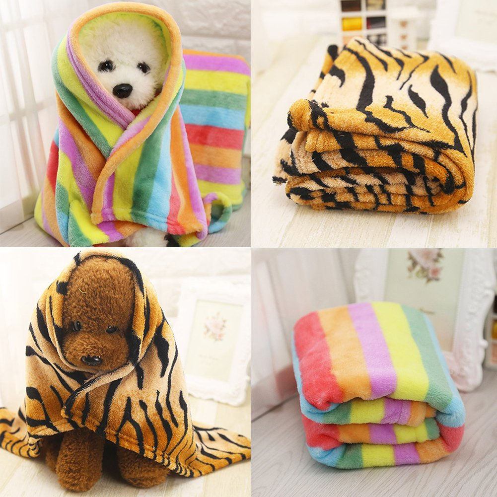 wanshenGyi Pet Blanket, Classic, Stylish, Hot, Practical, Tiger Skin Pattern Rainbow Soft Flannel Carpet Cat Dog Puppy Pet Blanket Mat - Rainbow S Home, Work, Travel Outside