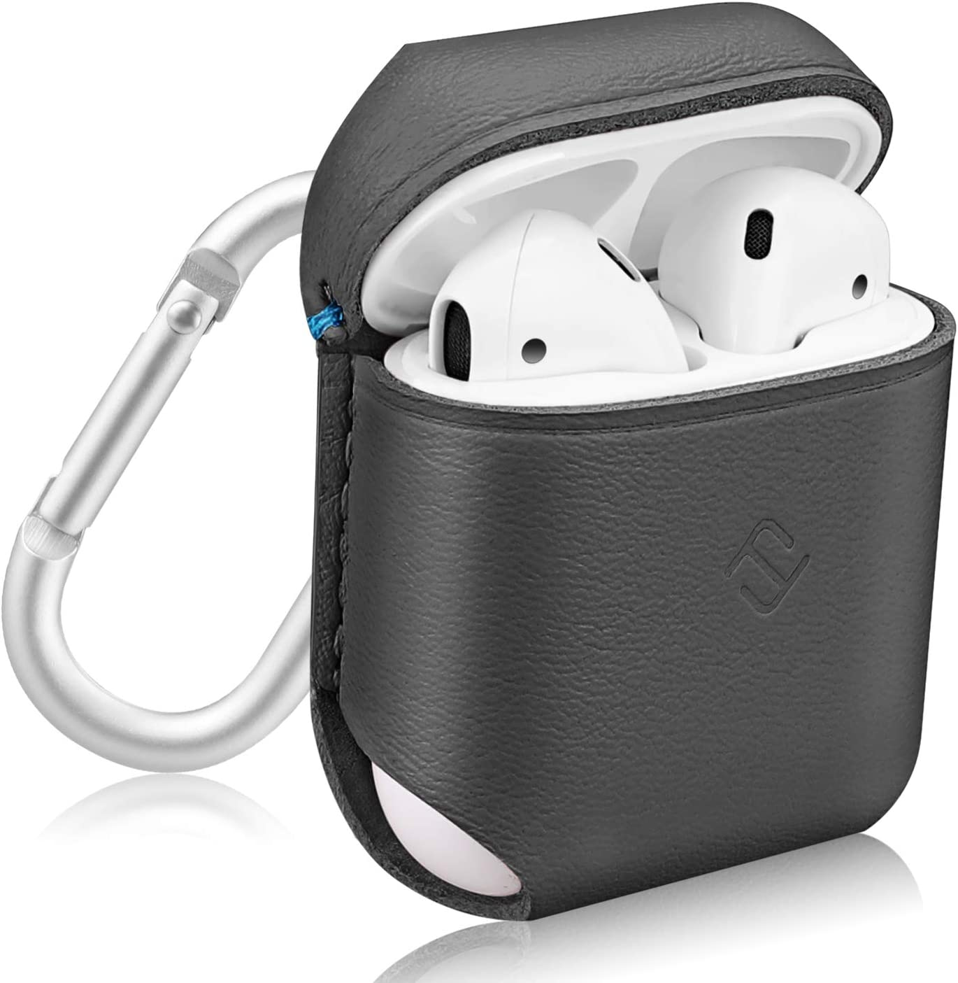 Fintie Genuine Leather Case for AirPods, Slim Fit Protective Cover Skin with Carabiner for AirPods 1 and AirPods 2 Charging Case, Gray