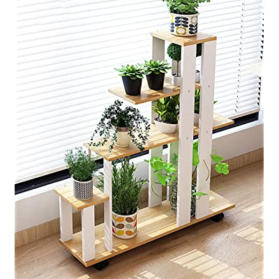 YJXJJD Indoor Flower Stand Multi-Function Plant Stand Decorative Flower Pot Display, 2 Colors (Color : Couleur Jaune Bois poire): Garden & Outdoor