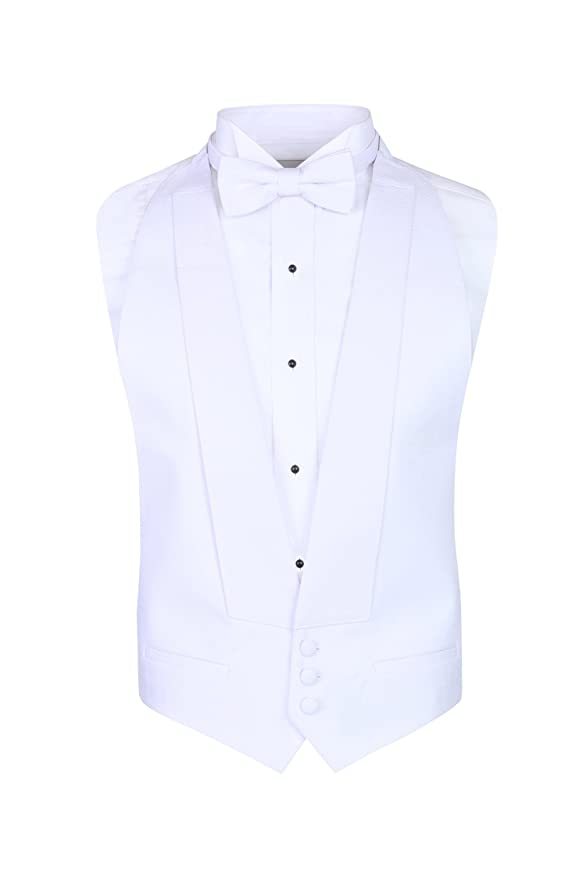 White Pique Vest & Bow Tie at Amazon Mens Clothing store: