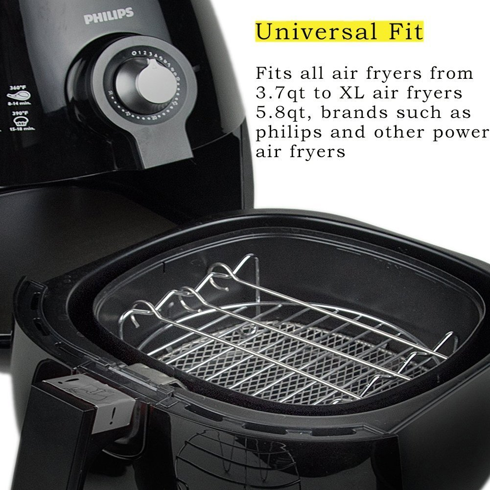 Deep Fryers Universal Air Fryer Accessories Including Cake Barrel,Baking Dish Pan,Grill,Pot Pad, Pot Rack with Silicone Mat by Bellagione (8 Pcs) by Bellagione (Image #2)