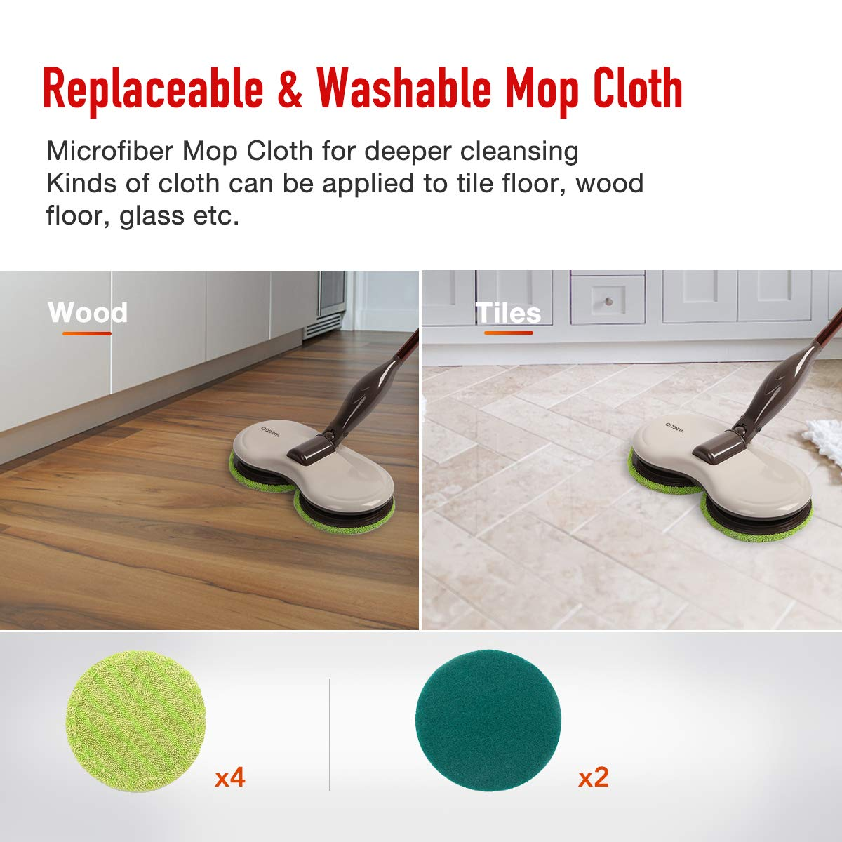 Electric Spin Mop, Cordless Floor Sweeper Cleaner with Dual Spinning Heads and Replaceable Pads for Tile Wood Hard Floor Window by VANiGO (Image #4)