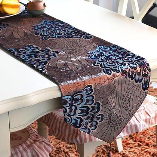 Caminos de mesa Pantalla abierta Pluma Tabla Tabla Mantel Peacock ...