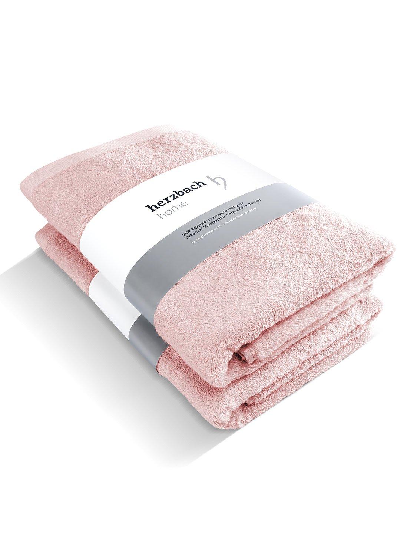 Herzbach Home - Juego de baño, calidad premium, toalla de ducha (2 toallas de lujo, 100% algodón egipcio, 70 x 140 cm, 600 g/m²), algodón, Rosa, ...