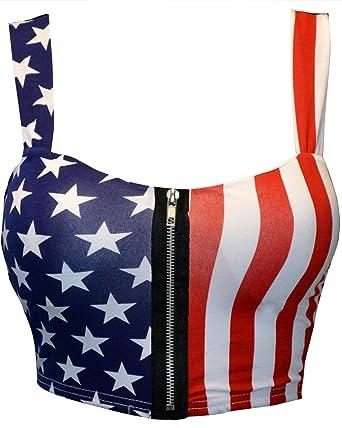 4d0fc66dc2b Mymixtrendz Women Crop ZIP Front Summer Print Boob Tube Bra Top Size 8-14 (