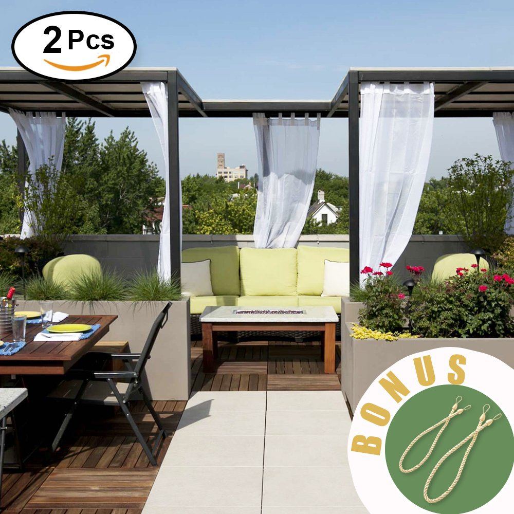 NICETOWN Outdoor Curtains with Rope Tiebacks - Lightweight Water Resistant Tab Top Indoor Outdoor Sheer Voile Drapes with Rope Tiebacks (2 Pieces, 54 x 96 Inch in White)